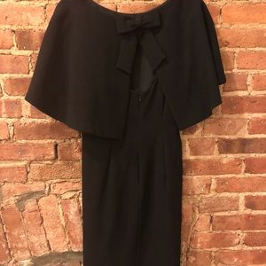 Black cape dress with bow back. Timeless!